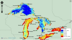 This graphic produced by the University of Michigan shows which of the Great Lakes are under the greatest environmental stress.
