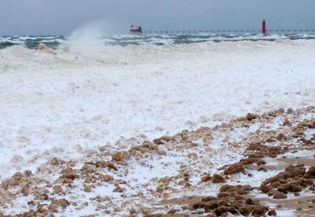 Icebergs on the Lake Michigan beach at Grand Haven, Mi., on Dec. 12. (Photo by Jeff Alexander)
